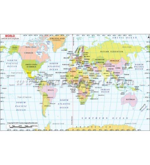 Buy World Map With Latitude And Longitude Online Lat Long Map - Us map with lattitudes