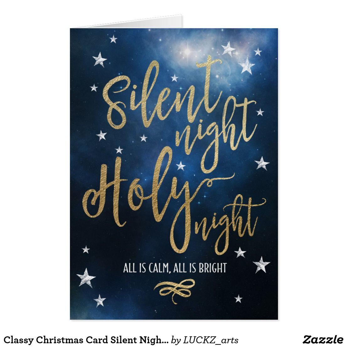 Christian Holiday Card Silent Night Holy Night Zazzle Com Christian Holiday Card Christian Christmas Christmas Greetings Christian