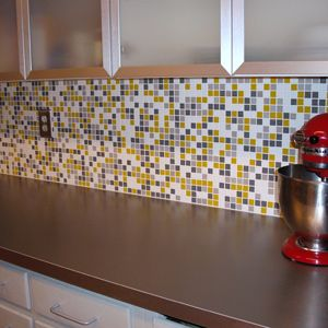 Yellow And Gray Mosaic Tile For The Kitchen Small Enough Yellow