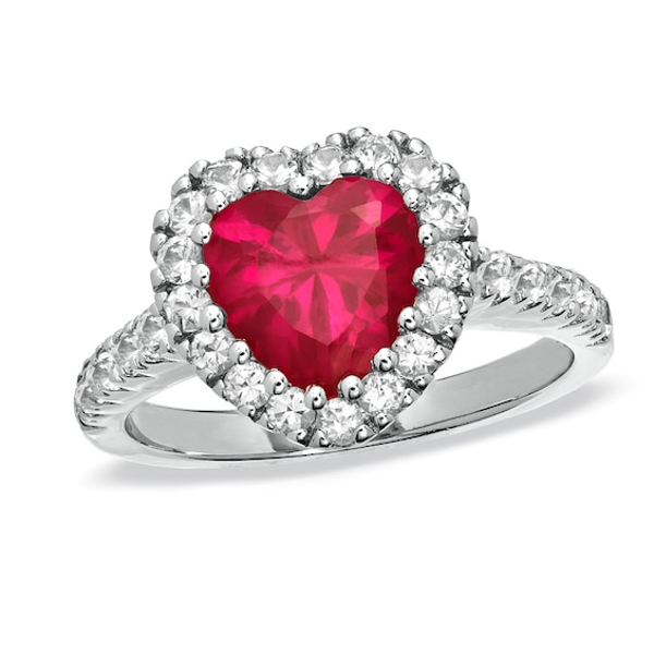 8 0mm Lab Created Heart Shaped Ruby And White Sapphire