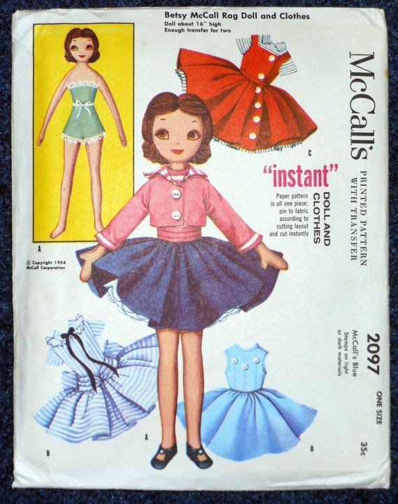 1950\'s Vintage Uncut McCalls 2097 Betsy McCall Rag Doll & CLothes 16 ...