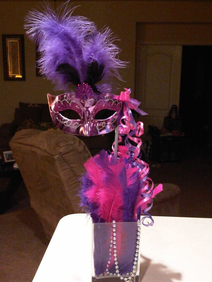 masquerade centerpieces | Tall mask centerpiece | Sweet Sixteen Party Ideas & masquerade centerpieces | Tall mask centerpiece | Sweet Sixteen ...