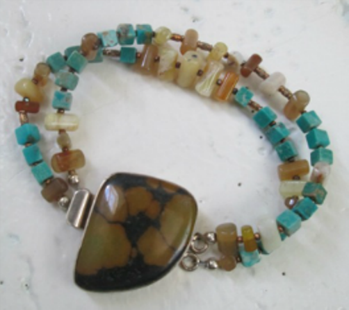 Cubed Turquoise Yellow Bamboo Opal Double Stranded Brown Turquoise 925 Silver Clasp Bracelet Designed by Blue Tortue
