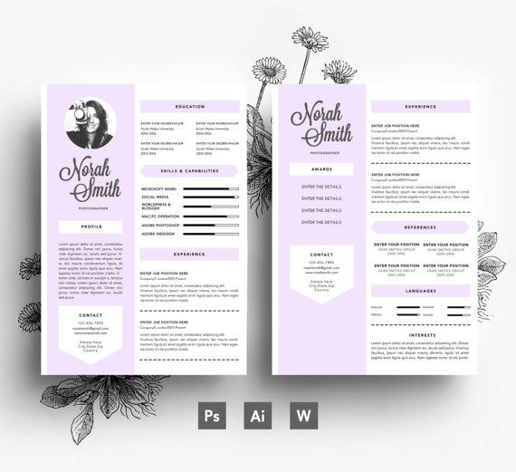 Resume Cover Letter Business Card   Page By Emilyartboutique