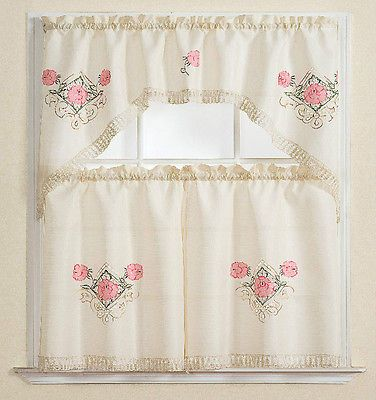 3PC Kitchen Curtain Set Beige Pink Rose Leaf Floral Embroidery Flower Green  New