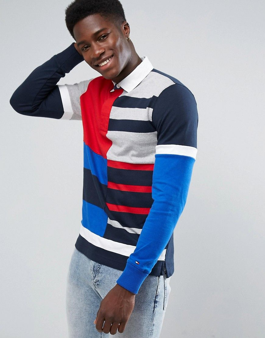 c058a870 TOMMY HILFIGER LONG SLEEVED RUGBY POLO SHIRT IN MULTI BLOCK STRIPE - MULTI.  #tommyhilfiger #cloth #