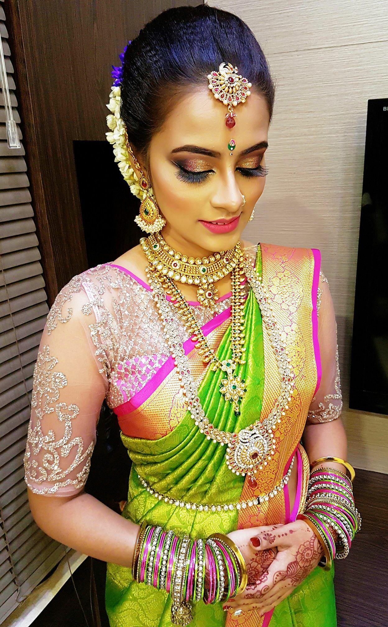 south indian bride, indian engagement, kanchipuram silk