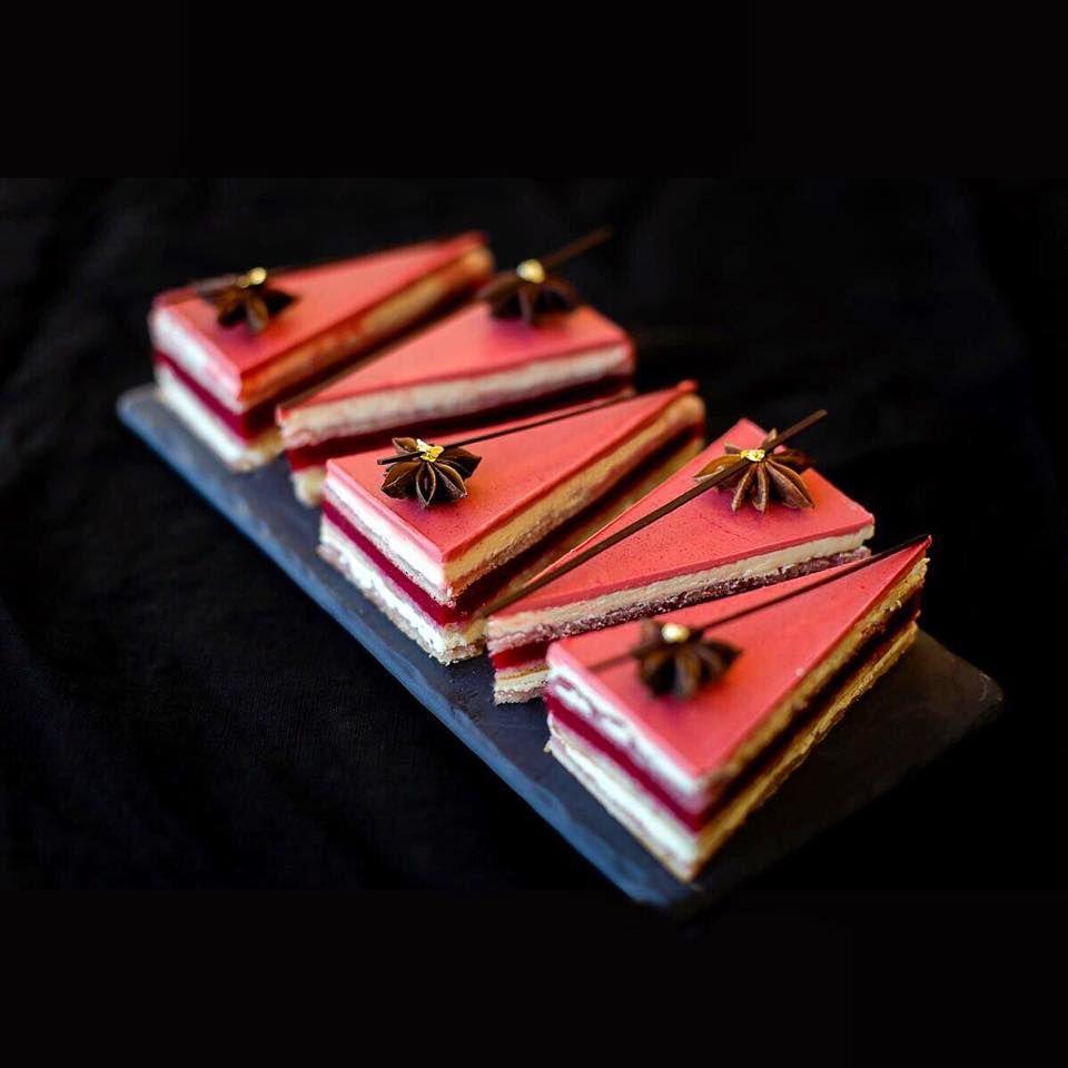 Nina Tarasova. Opera cake with raspberry and anise.   Opera cake. Gourmet desserts. Layered desserts