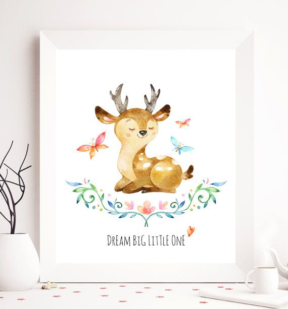 Nursery printable, you are so loved, deer printable, children printable, animal wall art, animal nursery printable, nursery animal wall art