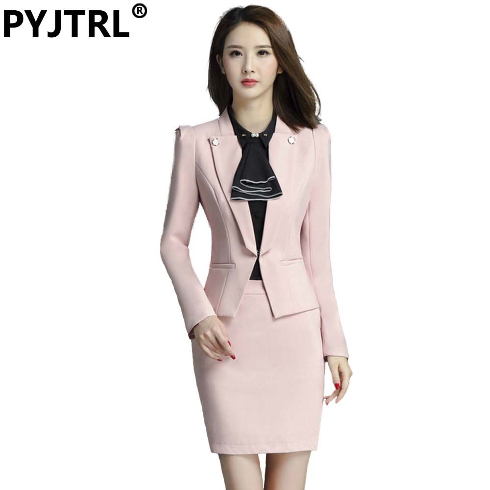 023a22700aa PYJTRL Brand Two Piece Set Pink Office Uniform Designs Women Elegant Fashion  Skirt Formal Suits Ladies Business Outfits Suit   Price   34   FREE Shipping  ...