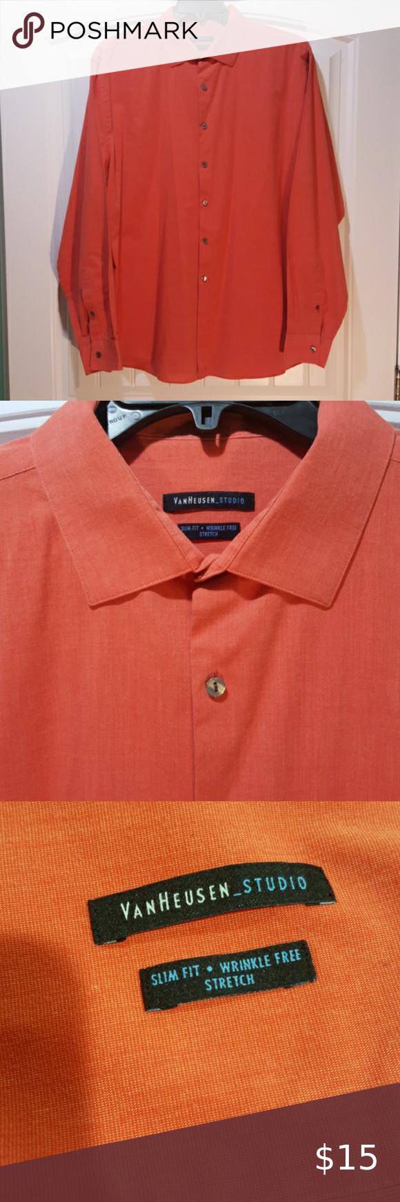 Van Heusen Studio Button Down 17 5 36 Such A Nice Shirt For The Man Who S Not Afraid Burnt Orange Dress Shirt Mens Shirt Dress Black Button Up Shirt [ 1740 x 580 Pixel ]