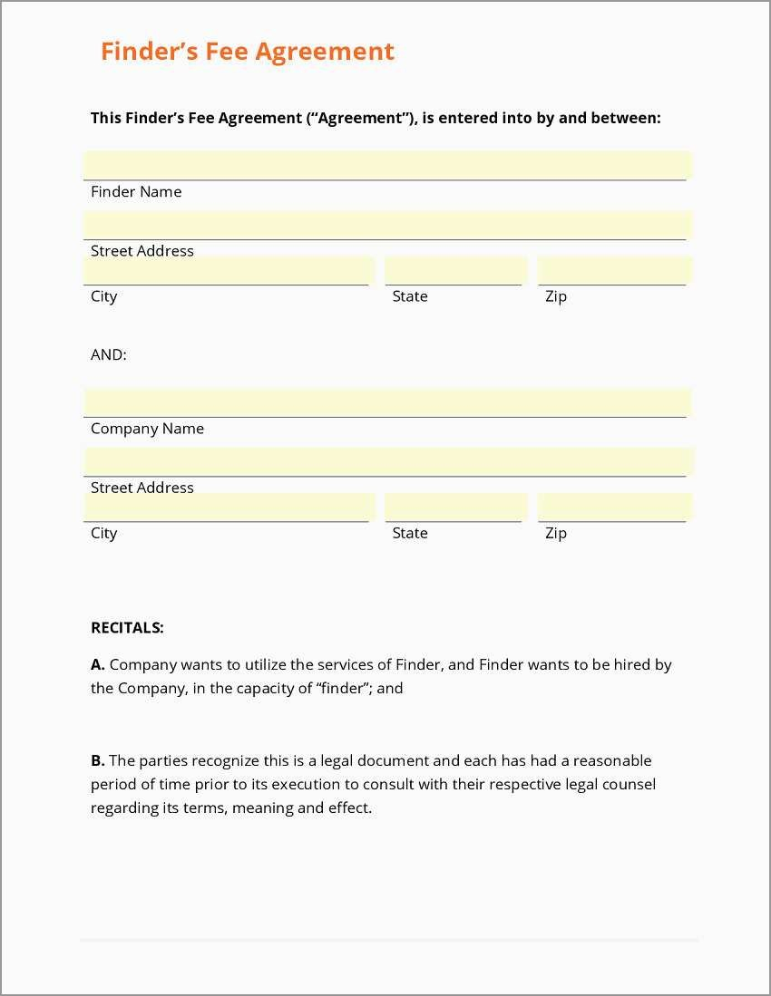 Free Real Estate Referral Form Template Pretty Business Form For Real Estate Finders Fee Agreement Template 10 Rental Agreement Templates Templates Referrals
