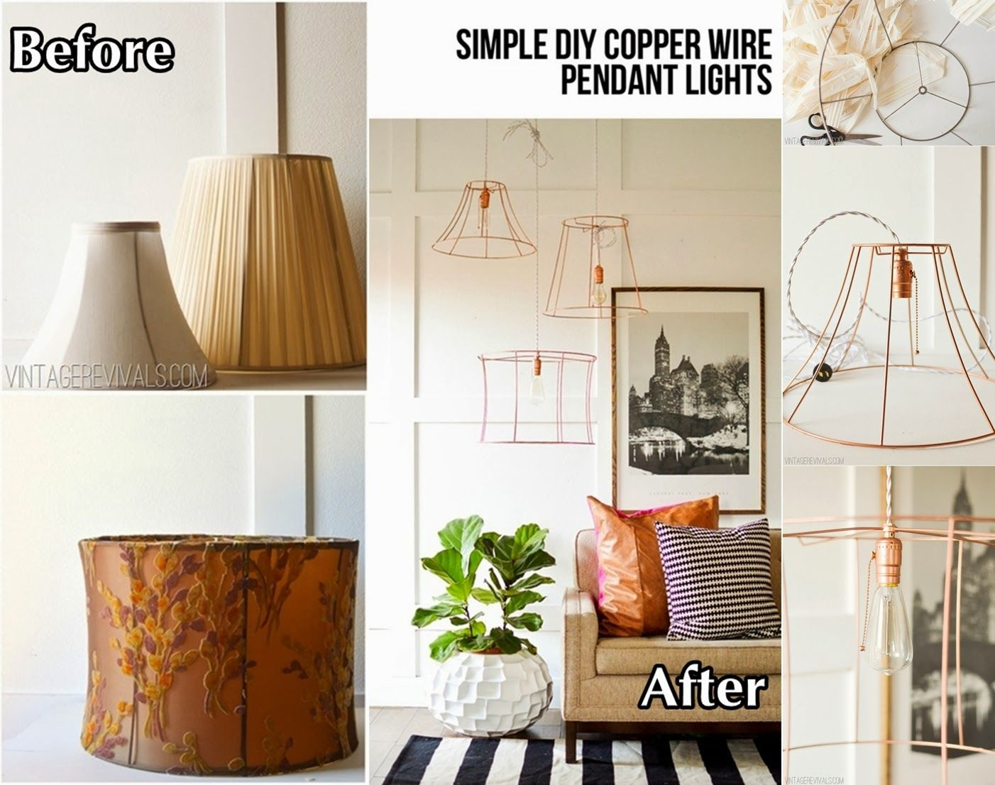 Diy light projects upcycled copper wire pendant lights from diy light projects upcycled copper wire pendant lights from lampshades greentooth Image collections