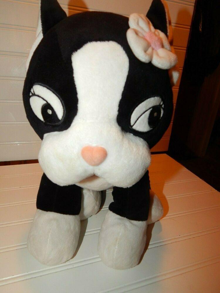 Build a Bear Puppy Dog Kitty Cat Black White Plush Rare Cartoon Face Stuffed