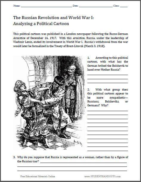 Political Cartoon Social Studies Worksheets : Analyze a political cartoon worksheet treaty of brest
