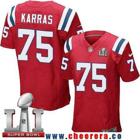 Men s New England Patriots  75 Ted Karras Red Alternate 2017 Super Bowl LI  Patch Stitched NFL Nike Elite Jersey 9d0b1361d