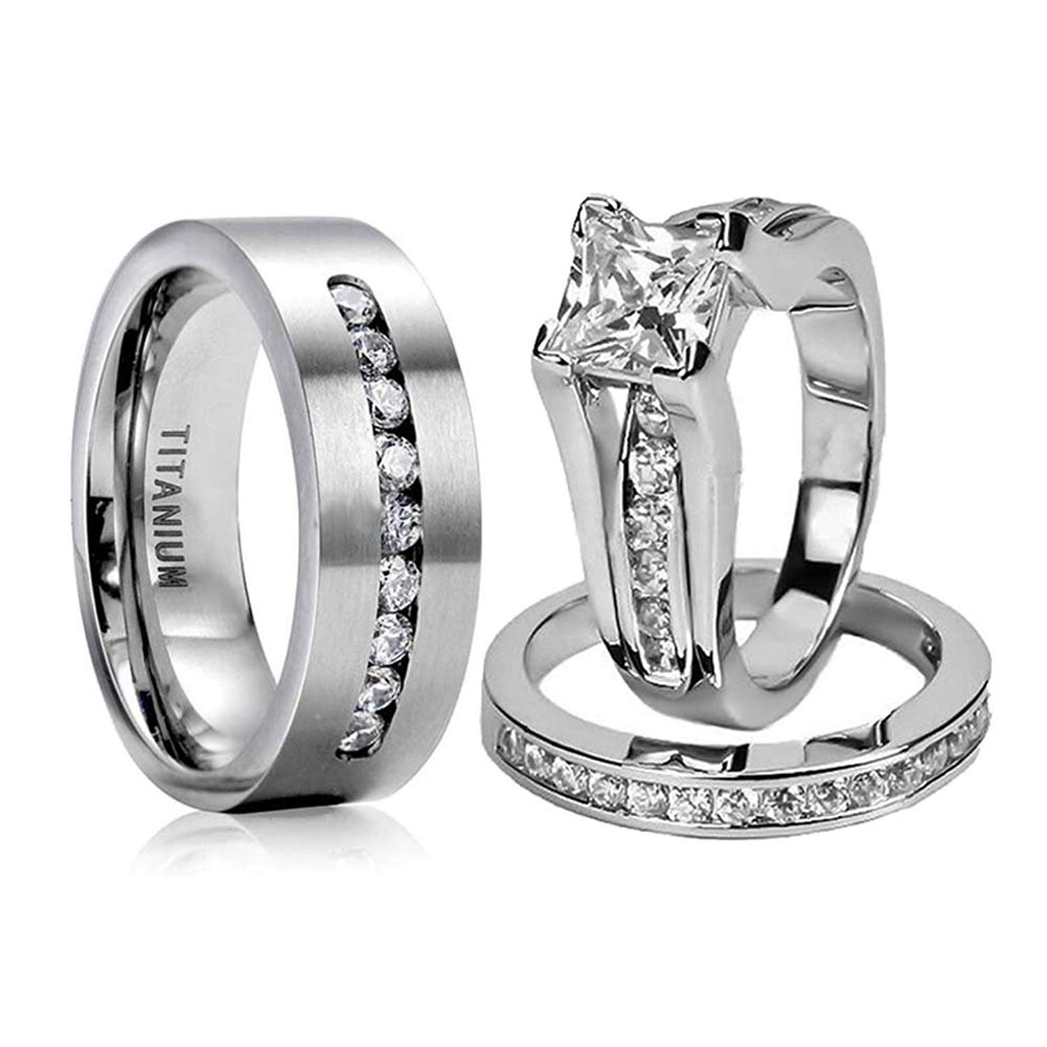 Loversring Couple Ring Bridal Set His Hers Women White Gold Plated Cz Men Titanium Wedding R Unique Diamond Rings Womens Wedding Ring Sets Couple Wedding Rings