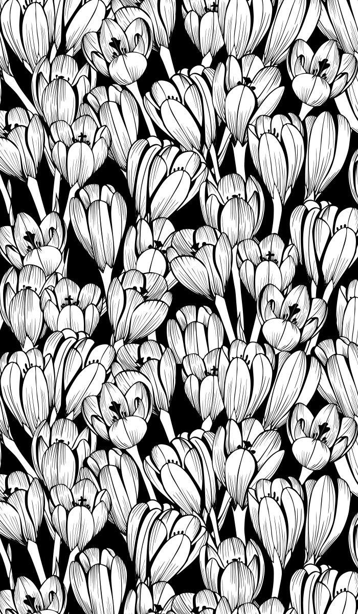 seamless, floral, pattern, crocuses, saffron, crocus
