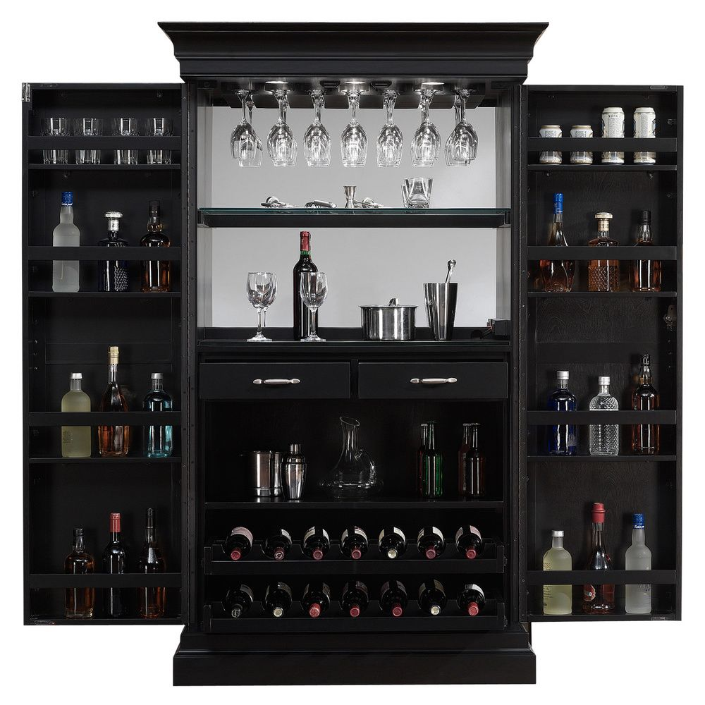 Black Home Bar Furniture: American Ashley Heights Black Stain Home Bar Wine Cabinet
