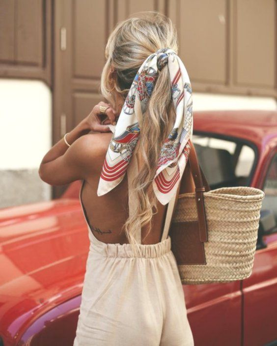 Scarves for the hair, ribbons for the hair, handkerchiefs for hairstyles, knotted in the hair...