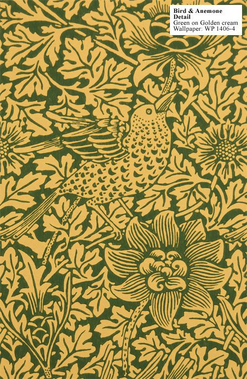 William Morris Bird Anemone wall paper Historic Style