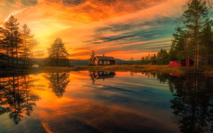 Descargar fondos de pantalla noruega lago puesta del sol for Fondo del sol