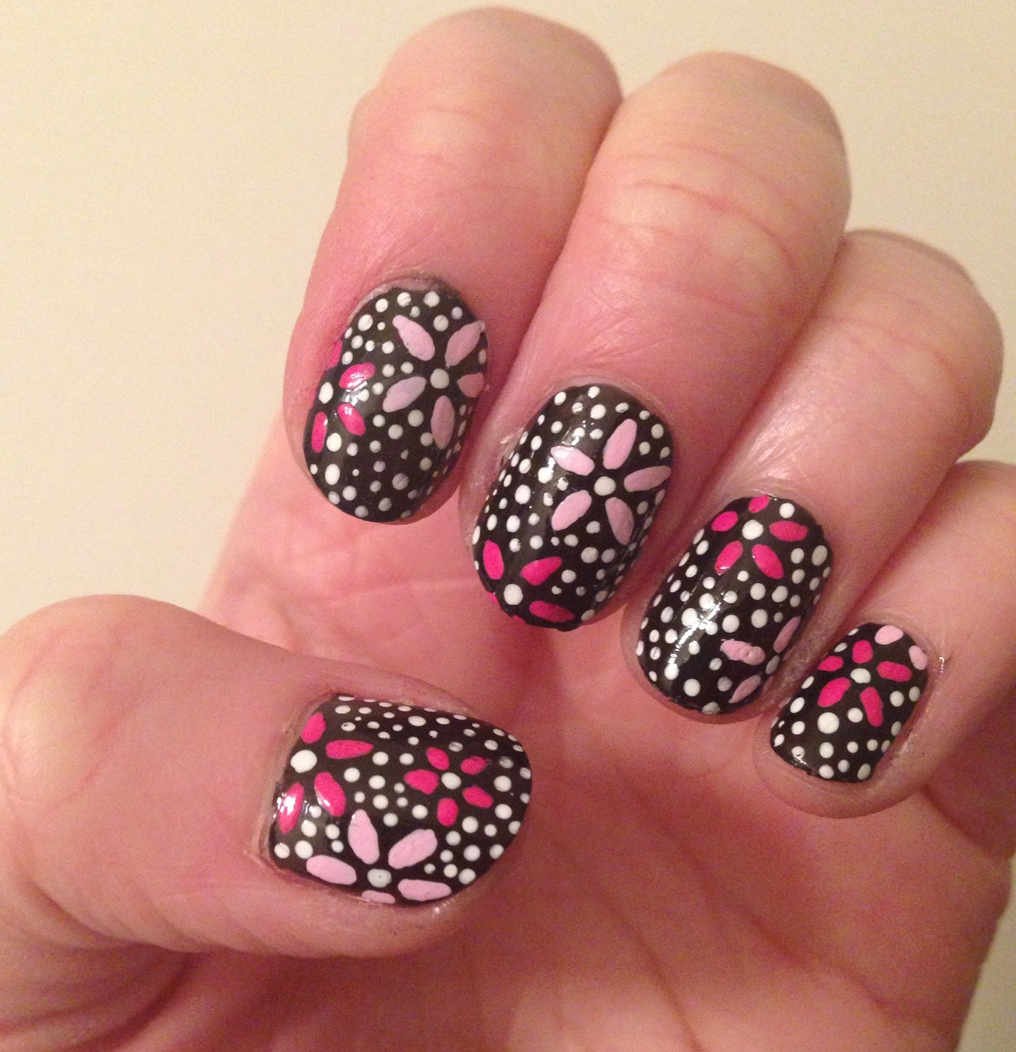 Polka Dot Flower Nail Art