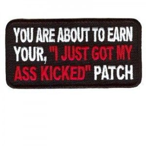 BAD ASS BIKER Embroidered Iron On Patch MC Biker Emblem White Border