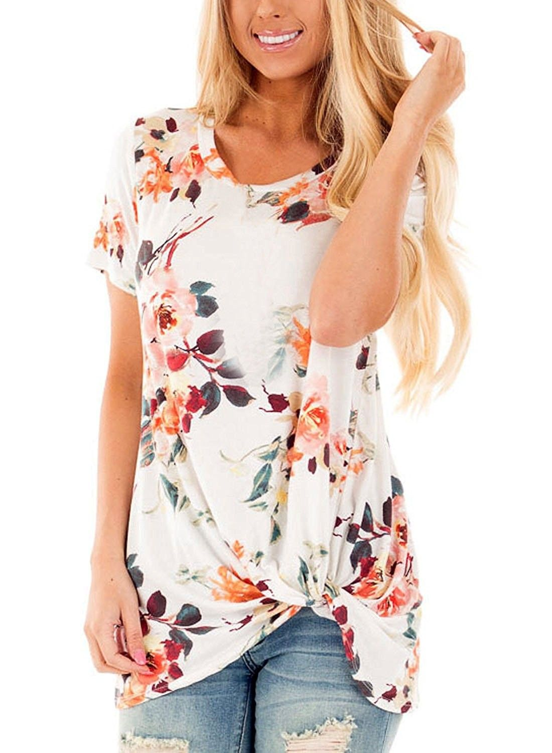 cdcfbc0c3f9b Womens Summer Casual Short Sleeve Floral Knot Blouse Tops and T ...