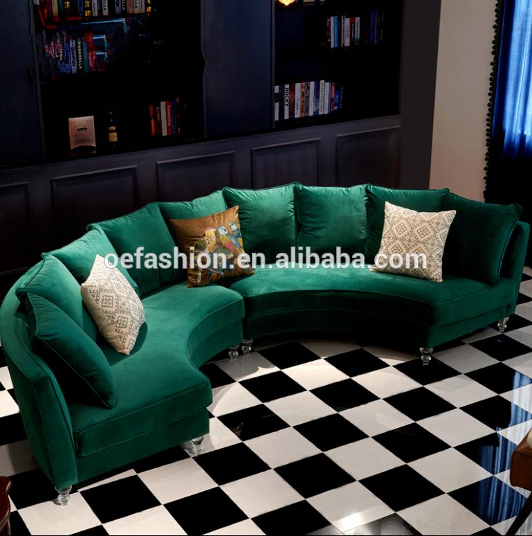 Velvet Sofa Set, Half Moon Couch Furniture