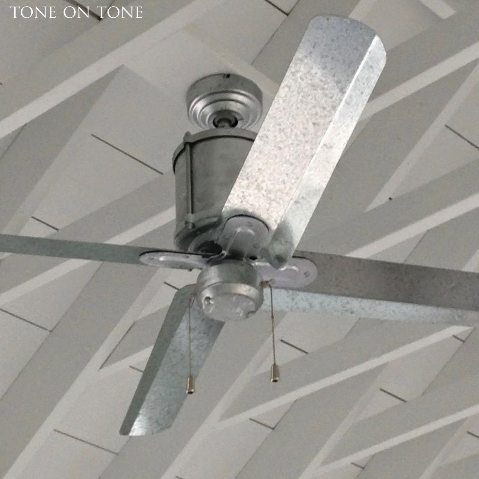 galvanized industrial ceiling fan at 1810 Maine house from Tone on
