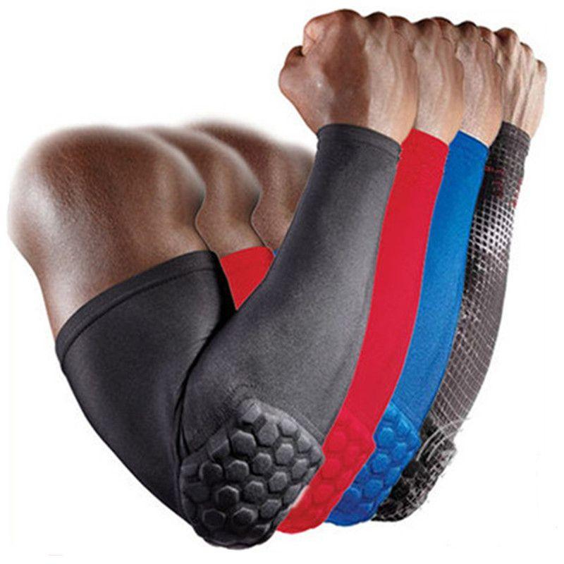 높은 품질 통기성 충격에 견딜 수있는 벌집 팔꿈치 패드 지원 수호자 가드 패드 농구 탄성 땀 팔 소매 따뜻하게
