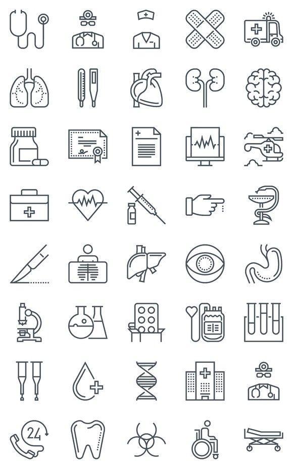 40 Hospital Health Icons Conjunto De Icones Desenho De Letras