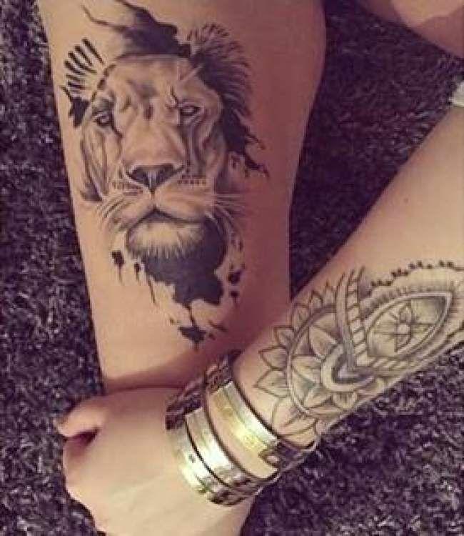 tatouage de femme tatouage lion r aliste sur cuisse t a t o o pinterest tatouage. Black Bedroom Furniture Sets. Home Design Ideas