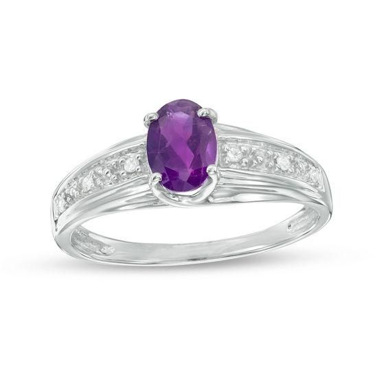 Zales Oval Amethyst and Diamond Accent Three Stone Swirl Ring in Sterling Silver Caxvx13d