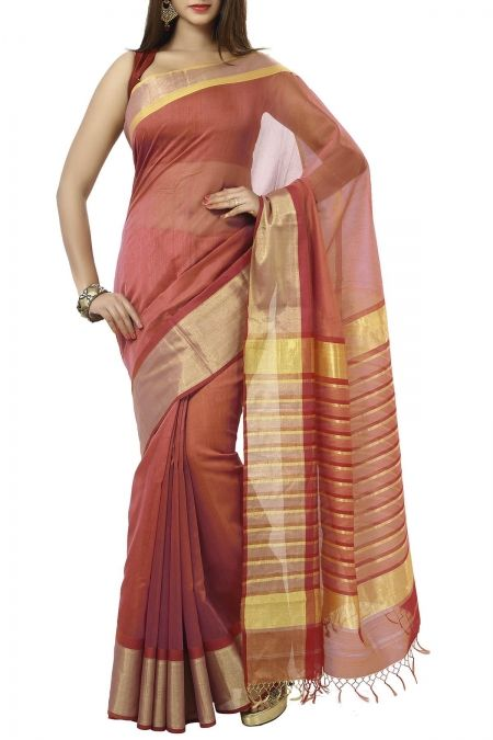 French Pink & Zari Cotton Silk Maheshwari Saree