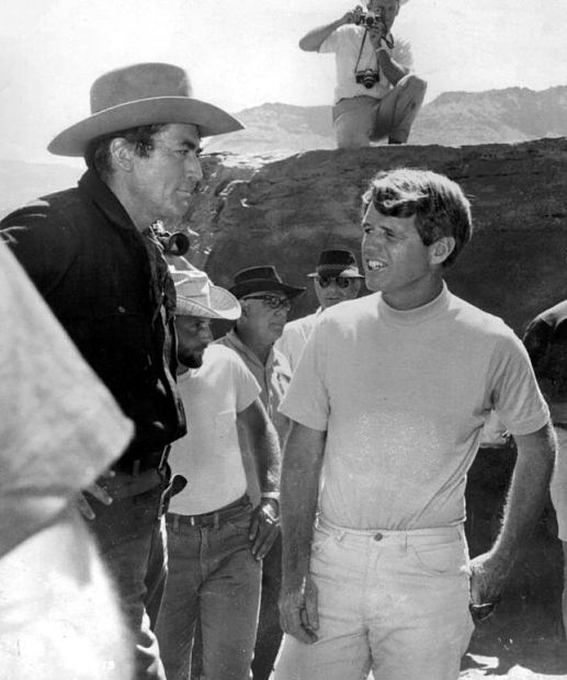 3240a9478 Sixties | Bobby Kennedy visits Gregory Peck on the set of McKenna's Gold,  1968
