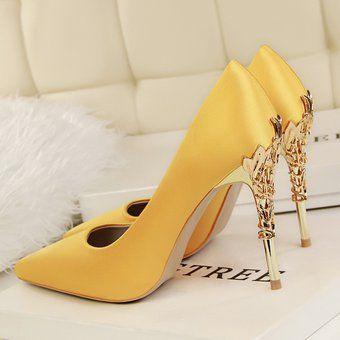 19db3f36ea88e Mujer Taco Zapatos De Tacon Alto Estilo Elegante Color Amarillo ...