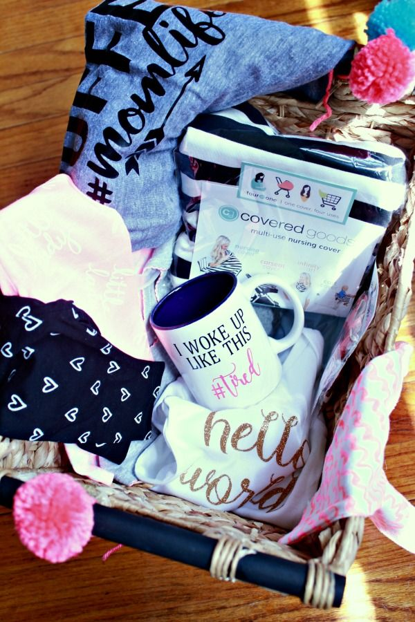 A Gift Basket For The First Time Mom Pregnancy Baskets Gifts