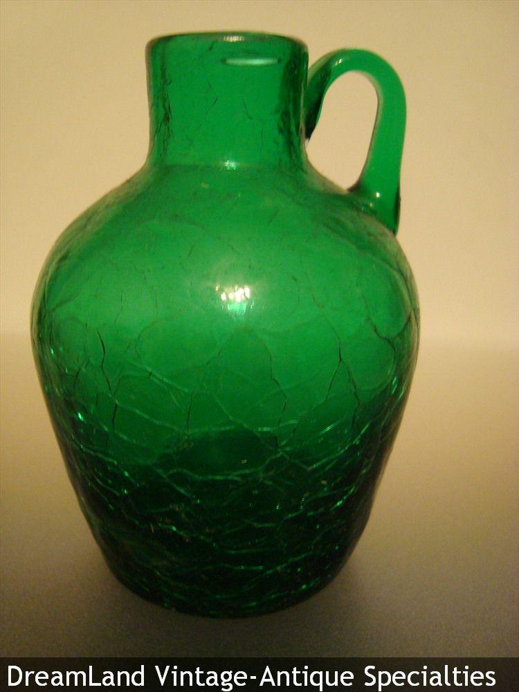 Green Crackle Glass Jug Make Offer Dreamlandspecialtiescomcast