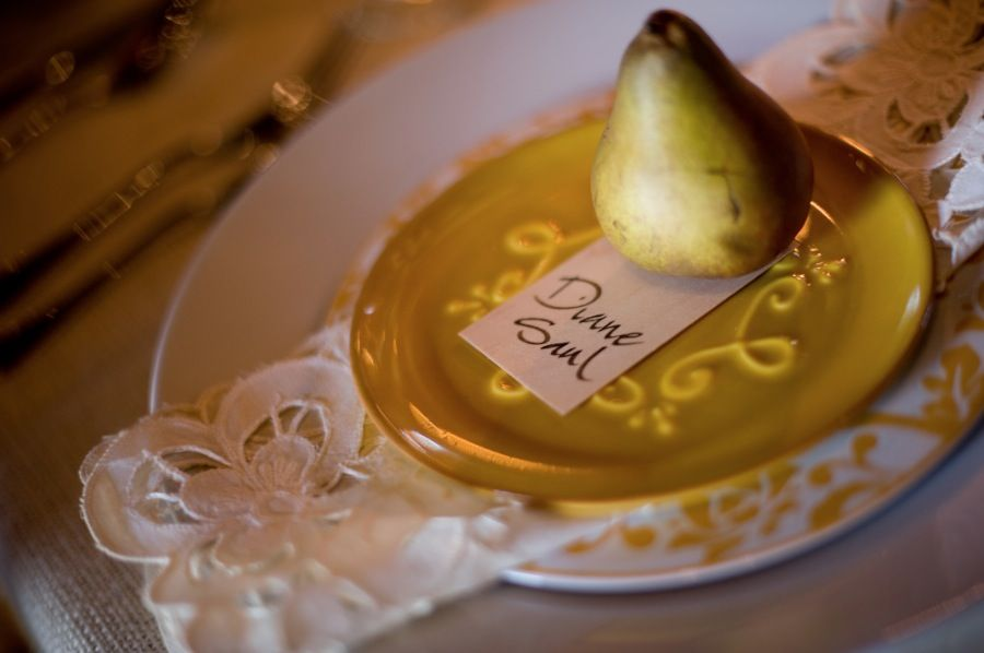 #fall place setting with pear, vintage napkin and plates. wood place card  shoot design by @Candice Coppola and photography by #carlateneyck http://www.carlateneyck.com