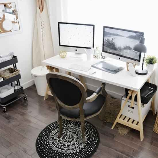 This home office/studio space is the perfect mix of style and utility. Organization is Key! (via Dearest Someday)