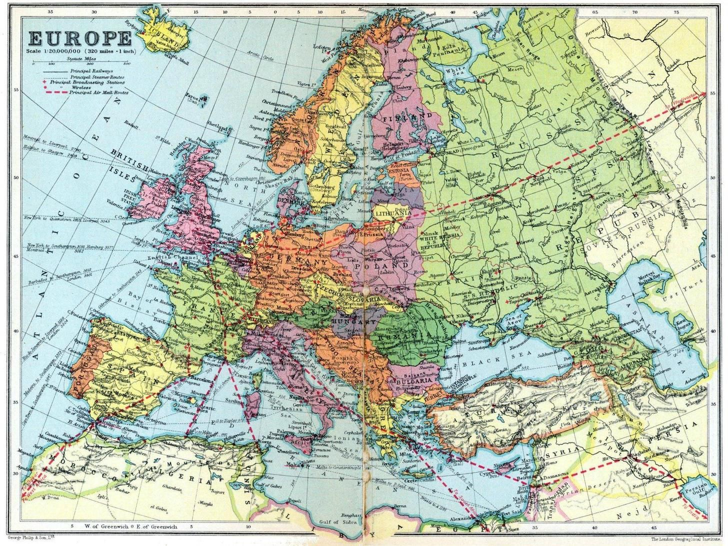map of europe in 1936 Detailed map of Europe in 1936 [2000 x 1500] | Europe map, Map art