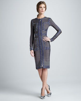 Pattern-Trim Long-Sleeve Bandage Dress by Herve Leger at Bergdorf Goodman.