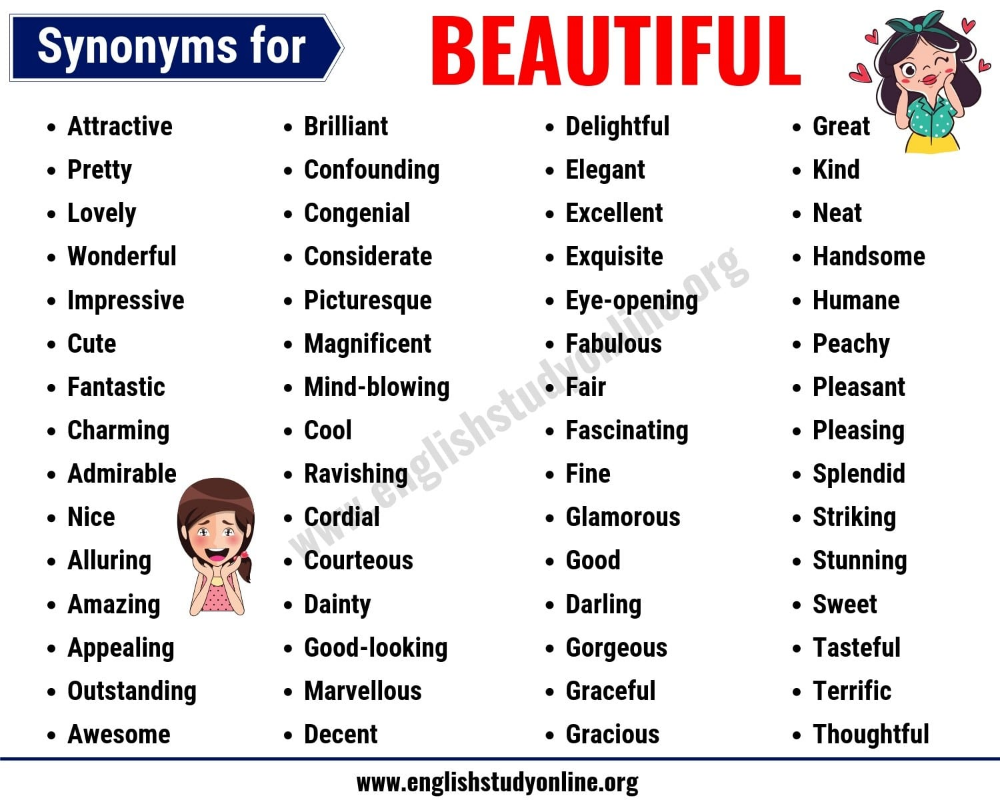 Beautiful Synonyms List Of 30 Helpful Synonyms For Beautiful English Study Online English Vocabulary Words Learn English Words Beautiful Synonyms