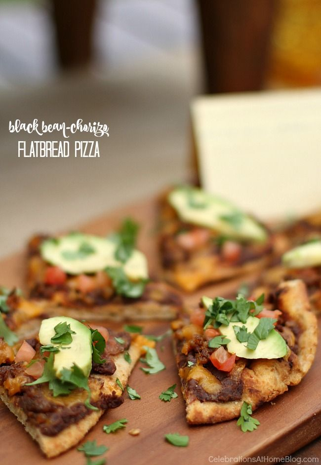 This black bean chorizo flatbread pizza is terrific for an appetizer or meal…