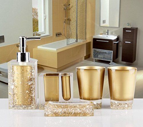 Amss 5 Piece Stunning Bathroom Accessories Set In Crystal Like Acrylic Tumbler Dispense Crystal Bathroom Accessories Crystal Bathroom Bathroom Accessories Sets
