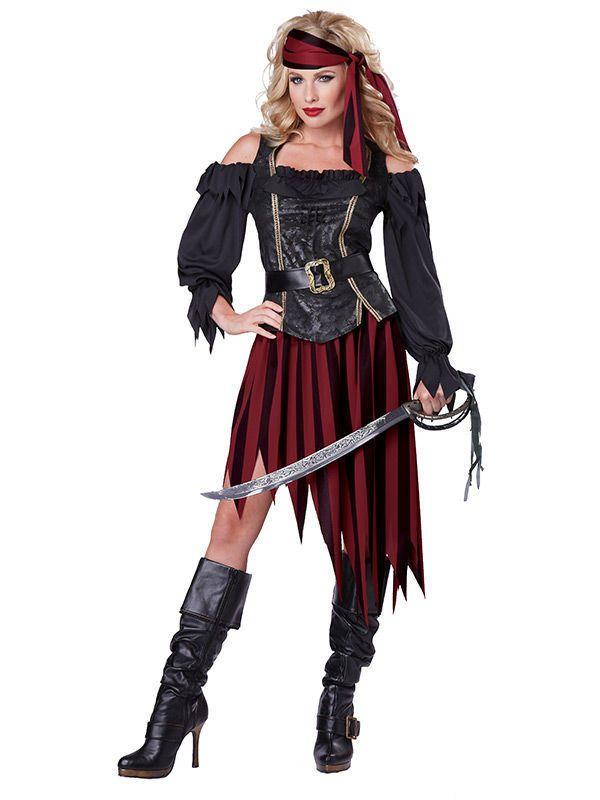 Piratenkonigin Piratin Damenkostum Schwarz Rot Mascaras Disfraz