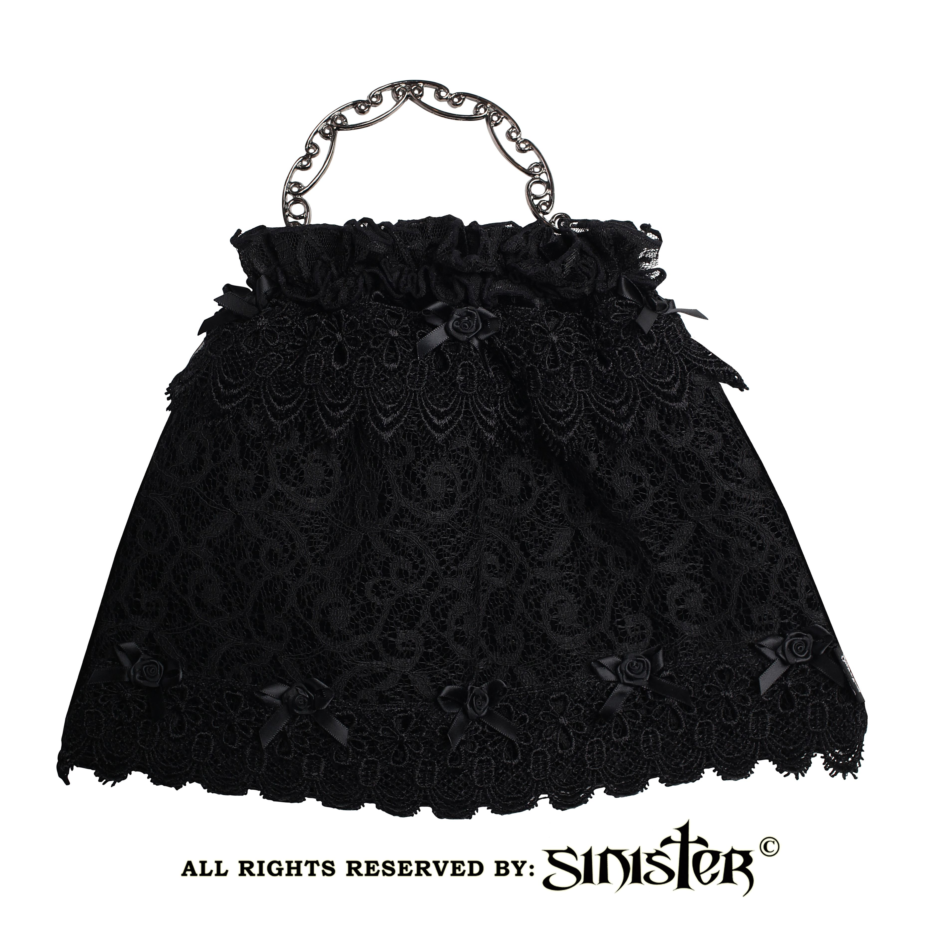 2075fff0c94ead Collection 2016 - Black velvet with Sicilian lace gothic evening bag with  purse fram metal opening