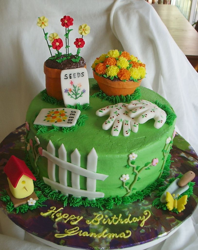 Pin by Rasha on Cakes i like | Garden birthday cake ...